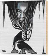 Black. Wood Print