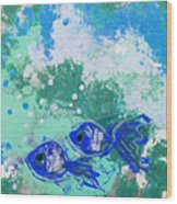2 Blue Fish Wood Print