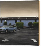 Blue Motel Wood Print