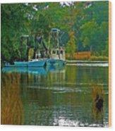 2 Blue Shrimp Boats Wood Print