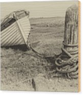 Boat At Porlock Weir. Wood Print