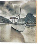 Boat At Sunset Wood Print