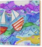 2 Boats And Yellow Fish Wood Print