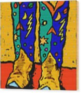 Boots On Yellow Wood Print