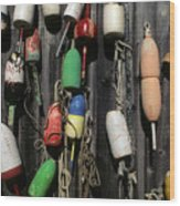 Buoys In Rockport Wood Print