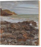 Bracelet Bay And Mumbles Lighthouse Wood Print