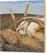 Bread And Wheat Cereal Crops. Wood Print by Deyan Georgiev
