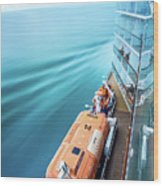 Browsing Around Cruise Ship On The Pacific Ocean Wood Print
