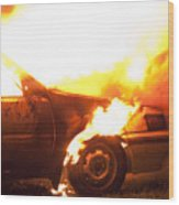 Burning Car Wood Print