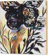Butterfly Sketch Wood Print