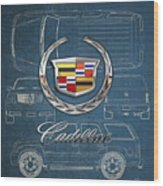Cadillac 3 D Badge Over Cadillac Escalade Blueprint  Wood Print