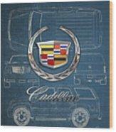 Cadillac 3 D Badge over Cadillac Escalade Blueprint  Wood Print