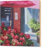 Cafe In Red Wood Print