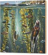 California Kelp Forest Wood Print