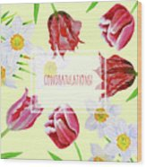 Card With Spring Flowers Wood Print