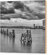 Cardiff Bay Panorama Mono Wood Print