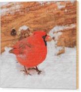 #2 Cardinal In Snow Wood Print