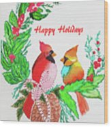 Cardinals Painted By Judith Brilhamte Wood Print