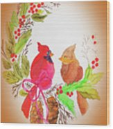 Cardinals Painted By Linda Sue Wood Print