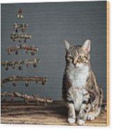 Cat Christmas Wood Print