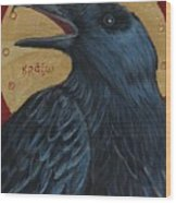 Caw Wood Print by Amy Reisland-Speer
