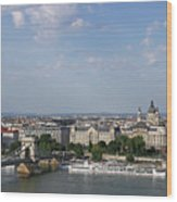 Chain Bridge On Danube River Budapest Cityscape Wood Print