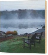 2 Chairs By Ocean With Sea Smoke Wood Print