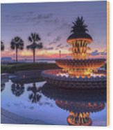 Charleston Pineapple Fountain Wood Print