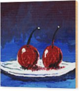 2 Cherries On A White Plate Wood Print