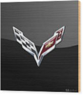 Chevrolet Corvette 3d Badge On Black Wood Print