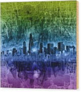 Chicago Skyline Abstract Wood Print