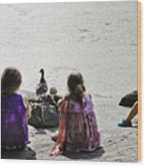 Children At The Pond 5 Wood Print