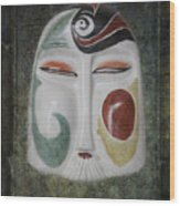 Chinese Porcelain Mask Grunge Wood Print