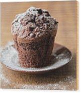 Chocolate Muffin With Powdered Sugar Wood Print