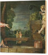 Christ And The Samaritan Woman At The Well Wood Print