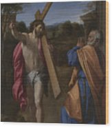 Christ Appearing To Saint Peter On The Appian Way Wood Print