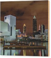 Cleveland Skyline At Night Wood Print