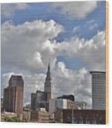 Cleveland Skyline From The Flats River District Wood Print