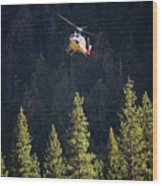 Climber Rescue Operation In Yosemite Wood Print