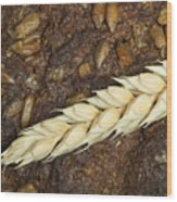 Close Up Bread And Wheat Cereal Crops Wood Print
