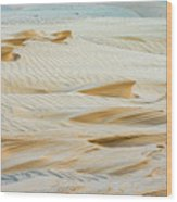 Close-up Of Beautiful Sunlit Ripple Surface Of Sand In Desert  Wood Print
