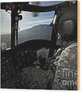 Co-pilot Flying A Ch-47 Chinook Wood Print
