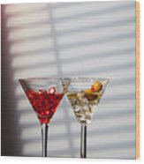 Cocktails At The Bar Wood Print