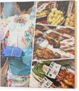 Collage Of Japan Food Images Wood Print