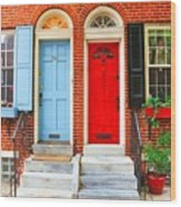 Colonial Doors Wood Print by Andrew Dinh