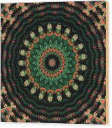 Colorful Kaleidoscope Incorporating Aspects Of Asian Architectur Wood Print