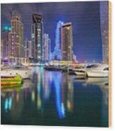 Colorful Night Dubai Marina Skyline, Dubai, United Arab Emirates Wood Print