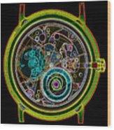 Coloured X-ray Of A 17-jewel Wrist-watch Wood Print