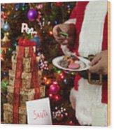 Cookies And Milk For Santa Wood Print
