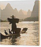Cormorant Fisherman On The Li River Wood Print
